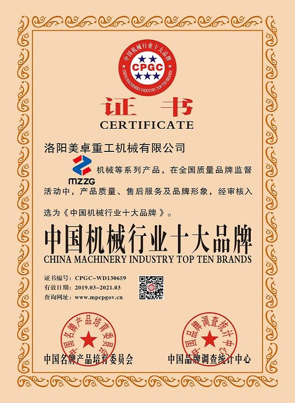 中国机械行业十大品牌