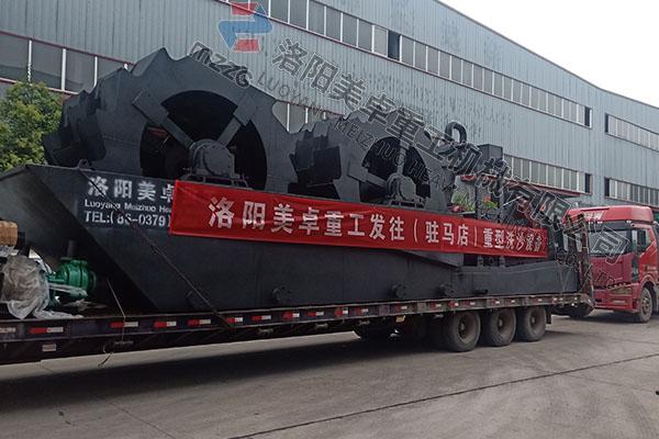 时产300-400吨鹅卵石洗砂机发往河南驻马店